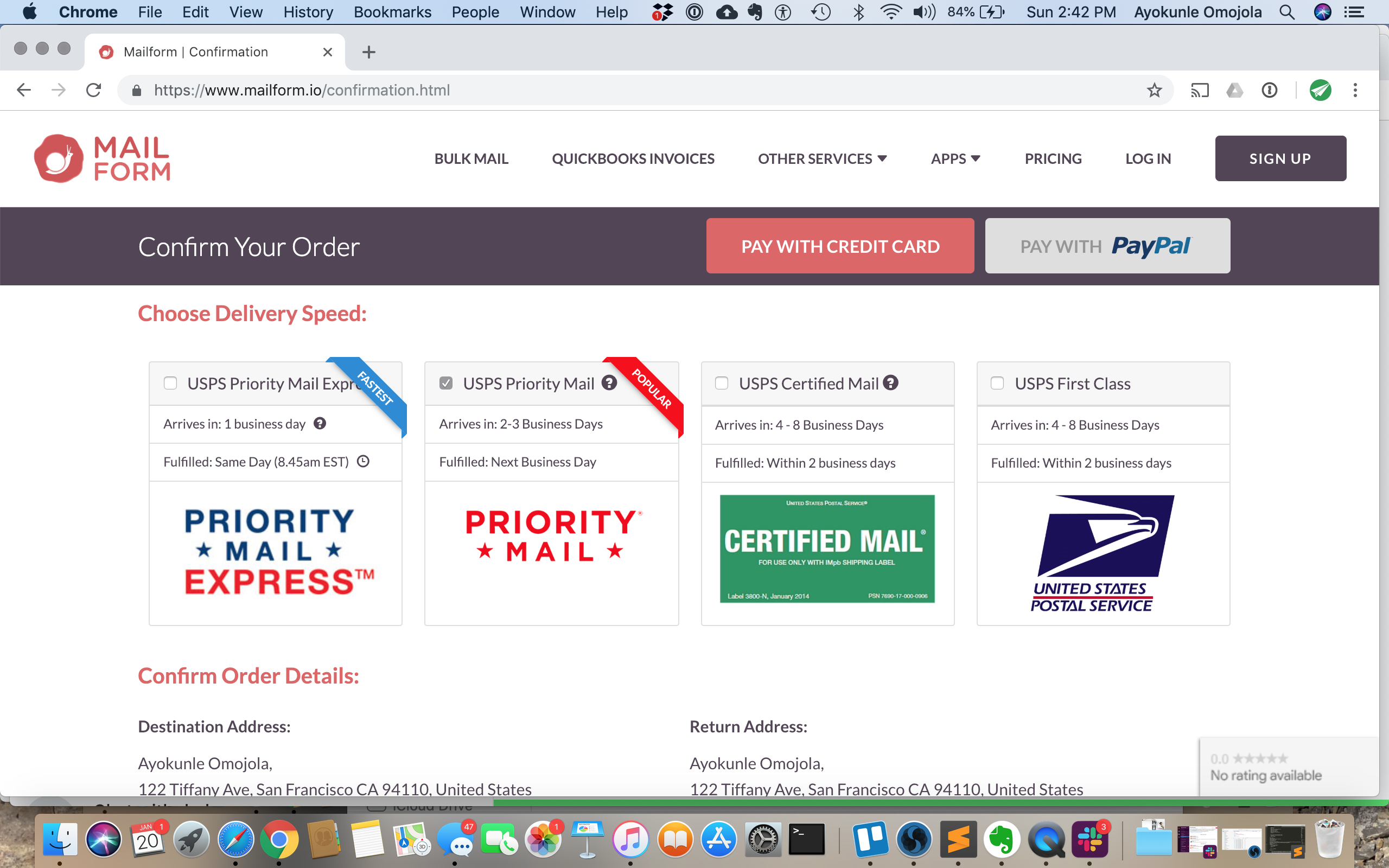 Choose your options and select Priority Mail or Priority Mail Express