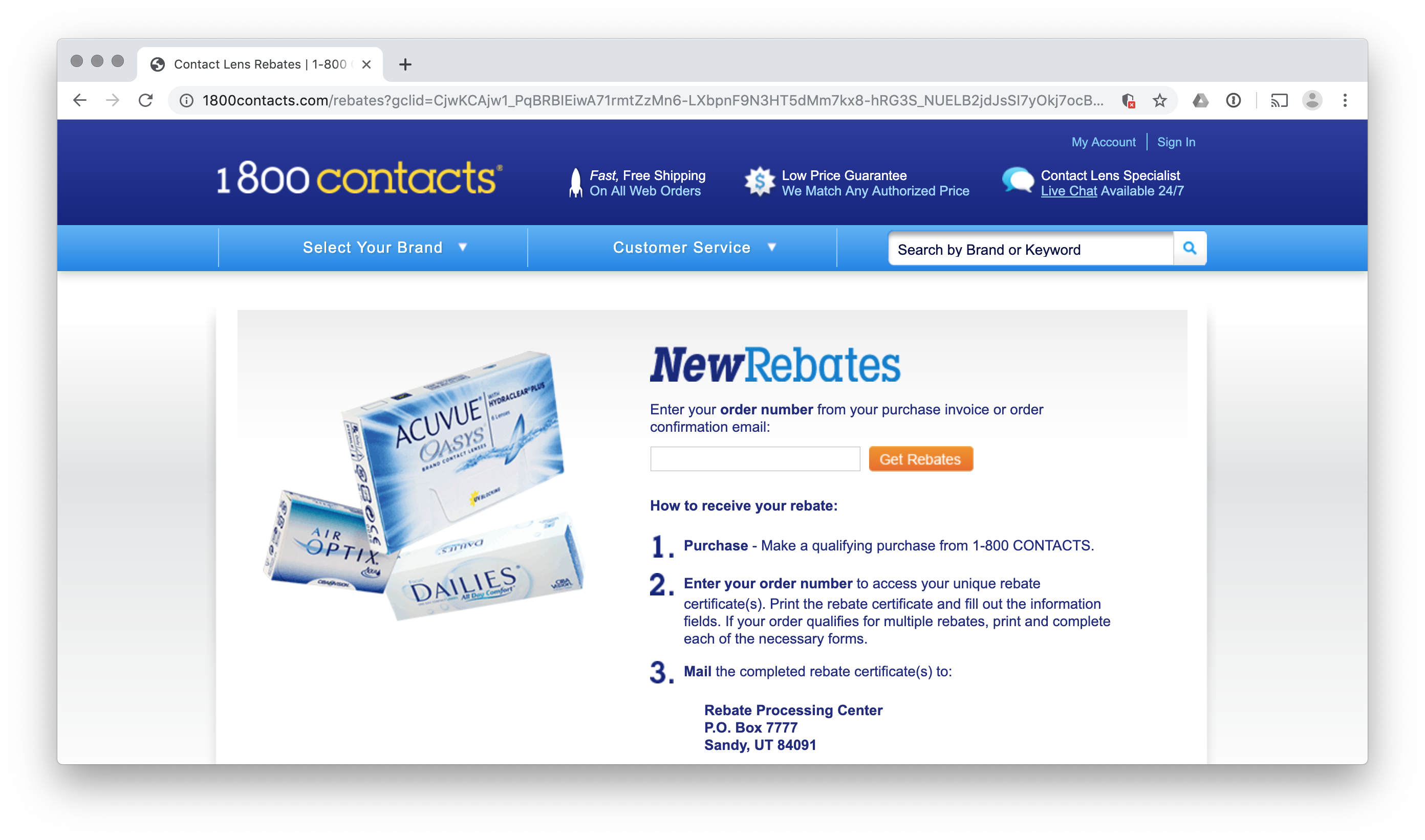 Mail In Rebate Forms For 1800 Contacts
