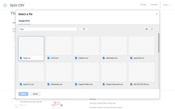 How to split a CSV file in Google Drive