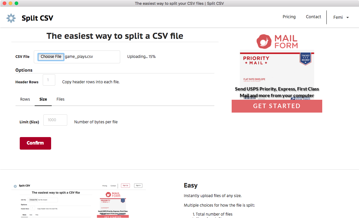 Upload your CSV file